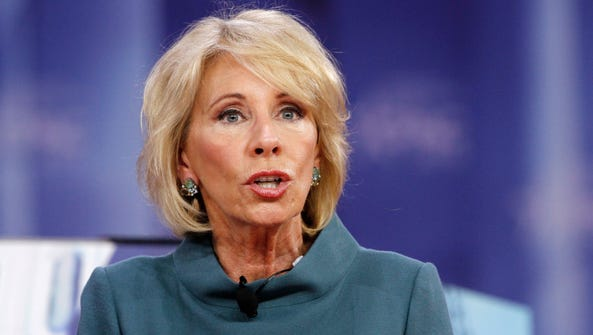 Education Secretary Betsy DeVos speaks during the Conservative