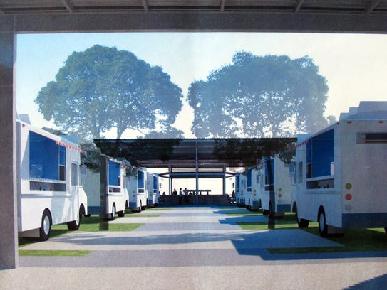 A rendering of the entrance to the food truck park