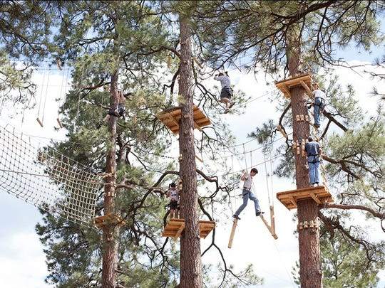 The Flagstaff Extreme Adventure Course is a series of exciting physical challenges suspended in trees at various heights. Participants experience new thrills and test personal limits in a safe and controlled environment. The difficulty increases from one course to the next and caters to a wide range of skill levels.