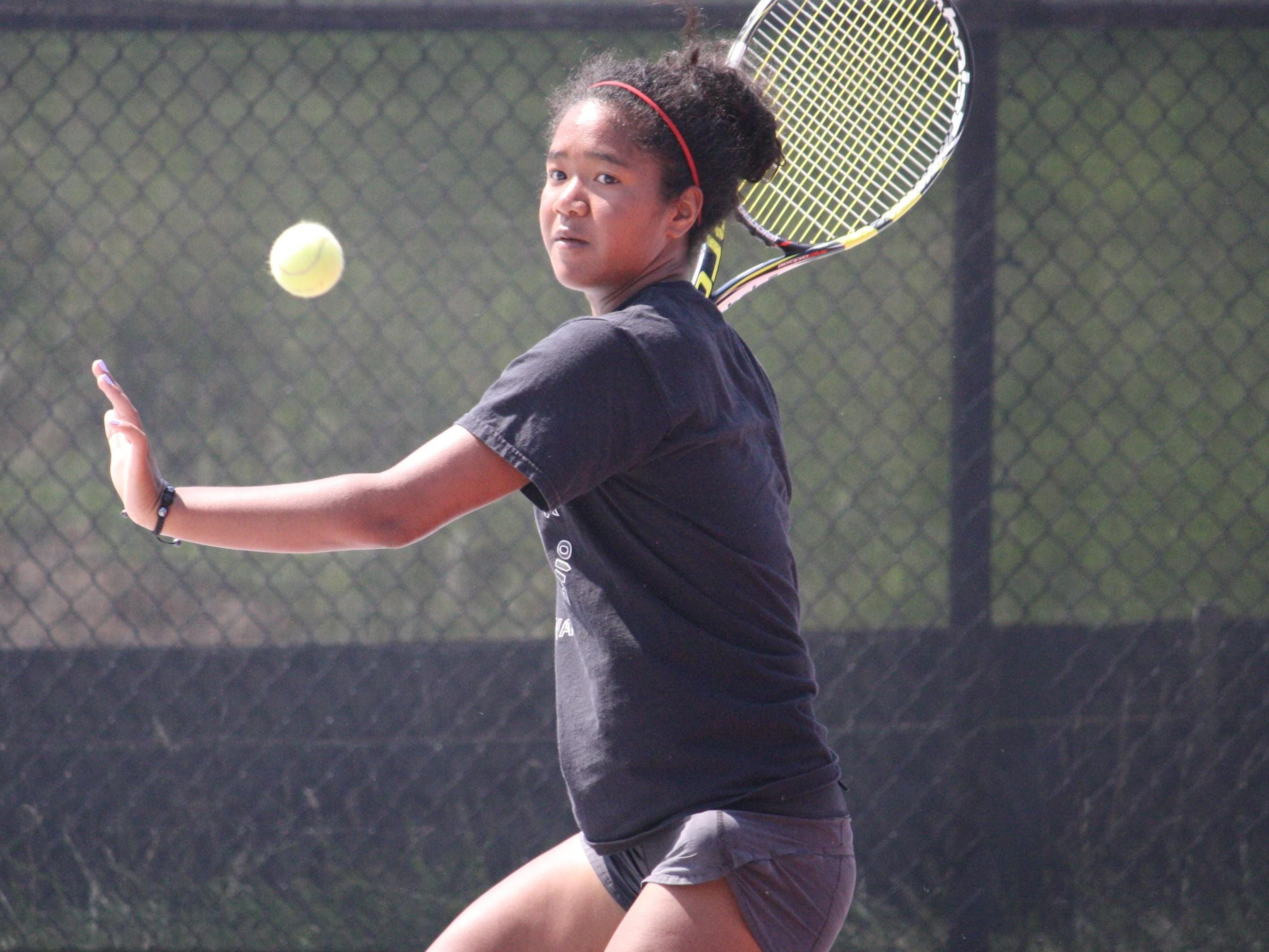 Princeton High School sophomore tennis standout Emily Thomas gets some work in at practice on Aug. 5. As a freshman, Thomas was a state singles qualifier and the Greater Miami Conference Player of the Year.