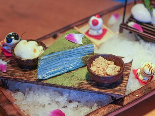 The Green Tea Crepe Cake at Zen Asian BBQ in North