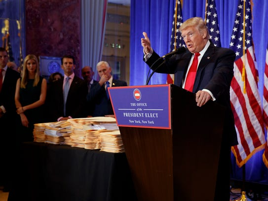 President-elect Donald Trump speaks during a news conference