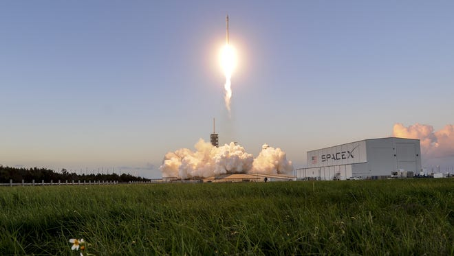 A SpaceX Falcon 9 rocket lifts off from pad 39A at Kennedy Space Center, FL Wednesday, Oct. 11, 2017.  The rocket is carrying the Echostar 105/SES-11 telecommunications satellite. Mandatory Credit: Craig Bailey/FLORIDA TODAY via USA TODAY NETWORK