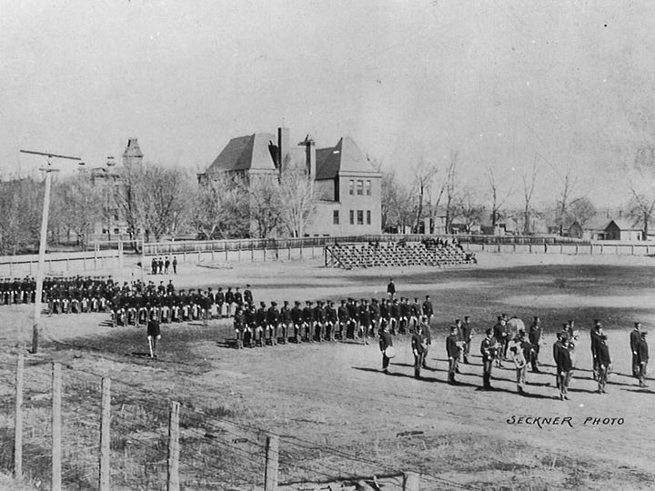 The Cadet Battalion practices on Athletic Field. Now, the Jack Christiansen Memorial Track sits approximately in this location.