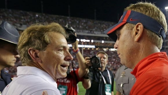 Alabama coach Nick Saban and Mississippi coach Hugh