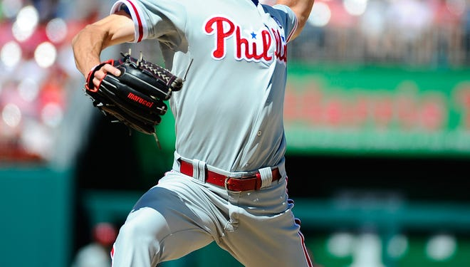 Philadelphia Phillies starting pitcher Cole Hamels (35) throws during the second inning Sunday against the Washington Nationals at Nationals Park. Credit: Brad Mills-USA TODAY Sports