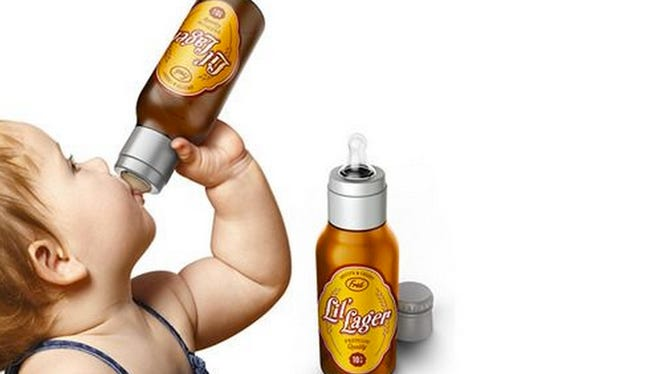In April, online retailer Perpetual Kid will offer a baby bottle fashioned after a beer bottle.