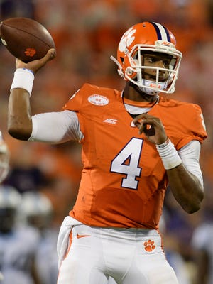 In his first start, Clemson freshman quarterback Deshaun Watson (4) set a school record with six touchdown passes.