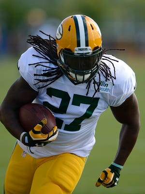 Green Bay Packers running back Eddie Lacy during training camp practice at Ray Nitschke Field on Tuesday, Aug. 4, 2015.