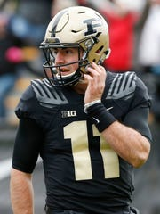 David Blough looks to the sidelines after giving up an interception to Wisconsin at 8:26 in the second quarter Saturday, November 19, 2016, at Ross-Ade Stadium. Purdue fell to Wisconsin 49-20.