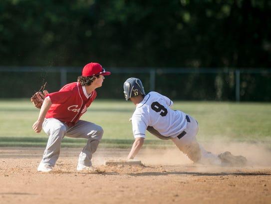Red Lion's Bren Taylor slides safely into second base