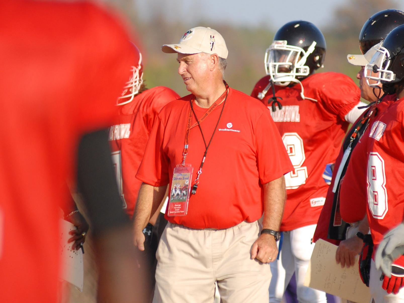 George Harrelson, shown coaching at a 2007 Shrine Bowl practice, will be honored Saturday as this year's FCA Coach of Influence.