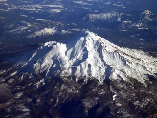 Mount Shasta, a 14,000-foot Northern California volcano,