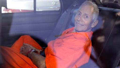 Robert Durst, in New Orleans, is transported from Orleans Parish Criminal District Court to the Orleans Parish Prison on  Tuesday, March 17, 2015.  He is accused of killing a friend in 2000 and is suspected in the death and disappearance of his wife in 1982.