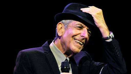 FILE - In this April 17, 2009, file photo, Leonard Cohen performs during the first day of the Coachella Valley Music & Arts Festival in Indio, Calif. Singer-songwriter Cohen died in his sleep after falling down in the middle of the night at his Los Angeles home, according to the statement released Wednesday, Nov. 16, 2016, by Cohen's manager Robert B. Kory.