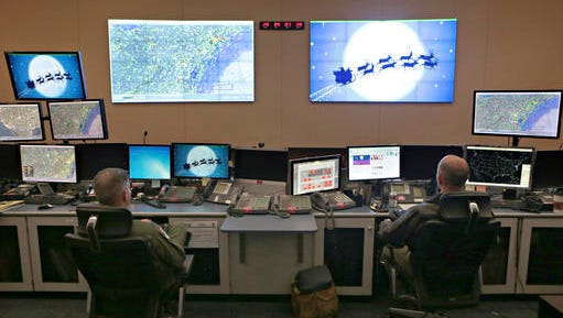 Members of the 601st Air Operations Center will watch Santa fly around the world on Christmas Eve with their NORAD Santa tracker on Friday, Dec. 23, 2016 in Panama City, Fla.