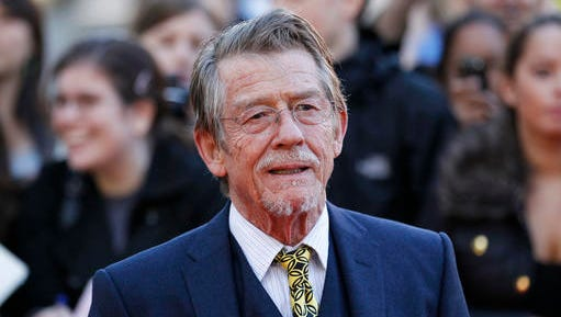 """File - This Sep. 13, 2011, shows British actor and cast member John Hurt arriving for the UK film premiere of """"Tinker Tailor Soldier Spy"""" at the BFI Southbank in London. The great and versatile actor Hurt, who could move audiences to tears in """"The Elephant Man,"""" terrify them in """"Alien,"""" and spoof that very same scene in """"Spaceballs,"""" has died at age 77.  Hurt, who battled pancreatic cancer, passed away Friday, Jan. 27, 2017, in London according to his agent Charles McDonald."""