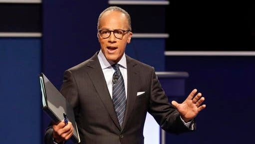 FILE - In this Sept. 26, 2016, file photo, moderator Lester Holt, anchor of NBC Nightly News, talks with audience before the presidential debate at Hofstra University in Hempstead, N.Y. On Feb. 21, 2017, Holt met a 7-year-old boy who mentioned him to a local news reporter in Portland, Oregon.
