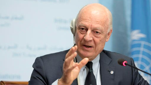 UN Special Envoy of the Secretary-General for Syria Staffan de Mistura informs the media one day before the resumption of the negotiation between the Syrian government and the opposition, at the European headquarters of the United Nations in Geneva, Switzerland, on Wednesday, Feb. 22, 2017.