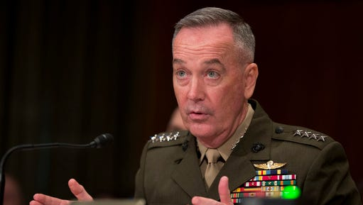 FILE - In this April 27, 2016 file photo, Joint Chiefs Chairman Gen. Joseph Dunford Jr. testifies on Capitol Hill in Washington. Dunford said Thursday, Feb. 23, 2017, a Pentagon-led review of strategy for defeating the Islamic State group will present President Donald Trump with options not just to speed up the fight against IS but also to combat al-Qaida and other extremist groups beyond Iraq and Syria.