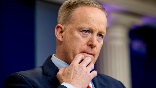 White House press secretary Sean Spicer pauses while talking to the media during the daily press briefing at the White House in Washington, Tuesday, April 11, 2017. Spicer discussed Syria, Trump's 2016 tax returns, the Easter Egg Roll and other topics.