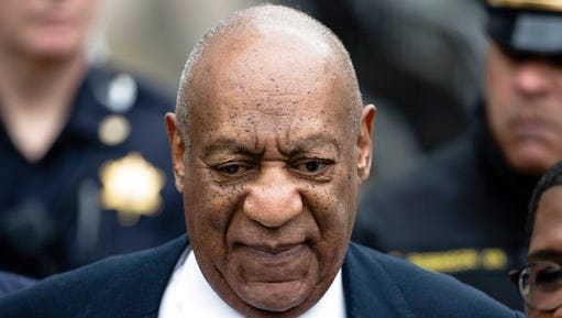 "FILE - In this  April 3, 2017, file photo, Bill Cosby departs after a pretrial hearing in his sexual assault case at the Montgomery County Courthouse in Norristown, Pa. Evin Cosby writes in an opinion piece for the National Newspaper Publishers Association published Wednesday, April 26, 2017, that her father ""is not abusive, violent or a rapist."""