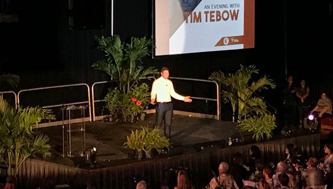 Tim Tebow spoke to an audience of about 800 Sunday at Florida Tech's Clemente Center in Melbourne.
