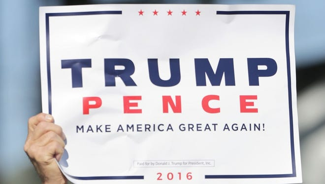 Trump Pence campaign sign from a rally in Wiconsin.