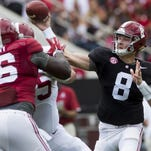 Blake Barnett remains in contention to be Alabama's starting quarterback, though he's struggled with turnovers.