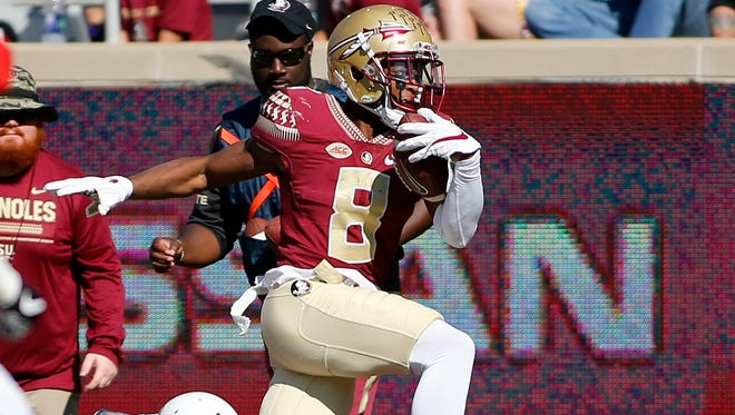 FSU wide receiver Nyqwan Murray leads FSU with 36 catches and 563 yards this season.