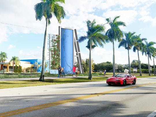 "An early conceptual rendering of the planned ""Caloosahatchee Water Wall"" sculpture and new sidewalks at the Alliance for the Arts in Fort Myers."