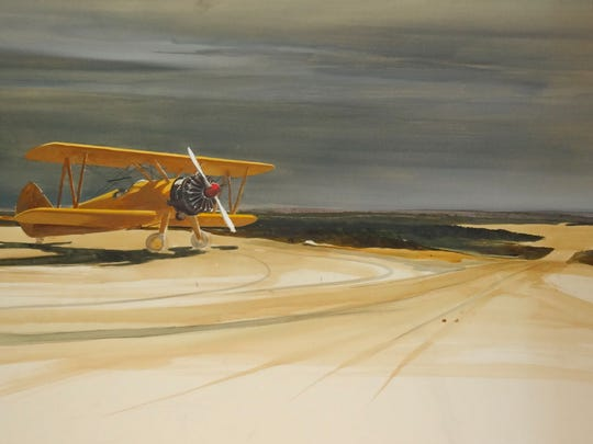 Albert Sandecki's 'Ready for Takeoff' is a gouache 1964 work, on view at the Markeim in Haddonfield.
