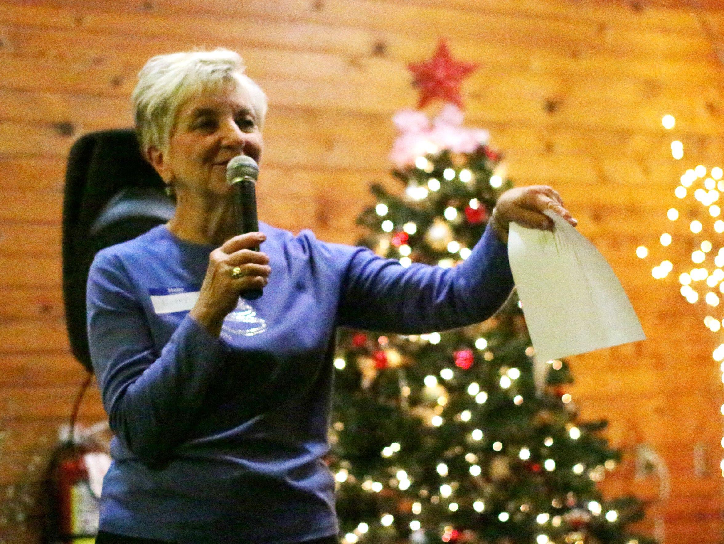 Making Spirits Bright's Geraldine Plehn gives a speech