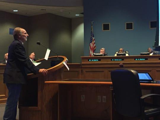 Andy Hebert addresses the Lafayette City-Parish Council July 10, 2018.