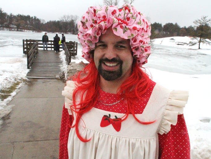 P.J. Sapienza sports a Strawberry Shortcake outfit  in preparation for the annual Polar Plunge event held Saturday at Brighton High School. Sapienza is Assistant Area Director Livingston County Special Olympics.