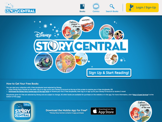 """Children and kids can listen to their favorite Pixar and Disney stories read out loud on """"Disney Story Central""""."""