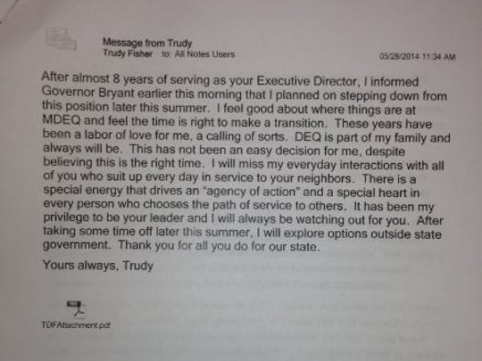 Fisher's resignation email.