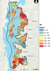 "Potential reductions in phosphorus ""exports"" to Lake Champlain are shown (warm colors are highest) in this map created in Nov. 2017 by the Vermont Department of Environmental Conservation. The largest red ""hot-spots"" in the map correspond to intensive farming around St. Albans, Hinesburg and Charlotte."