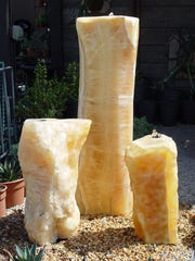 Golden quartz pillars produce a stunning sculptural