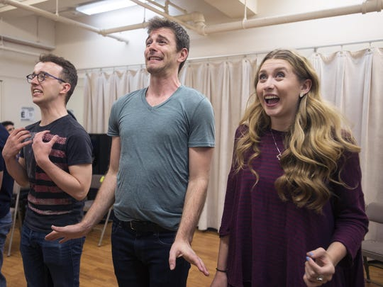 "Actors Ian Fairlee, Patrick Massey and Chandler Reeves rehearse Act 1 of ""Foolerie"" earlier this month in New York City."