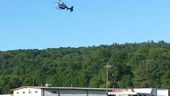 A helicopter was called to the scene of a car crash Friday morning on Route 17 East.