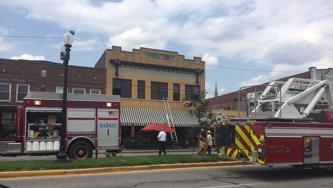 Evansville firefighters were called to a two-alarm fire on West Franklin Street on Wednesday afternoon, May 10, 2017. Fire officials said the blaze started