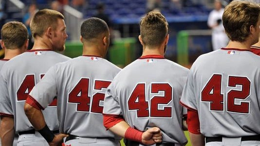 As the Nationals did last year, all MLB players will wear No. 42 today to honor Jackie Robinson.