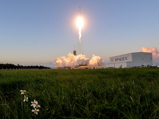 A SpaceX Falcon 9 rocket takes off from the 39A pad