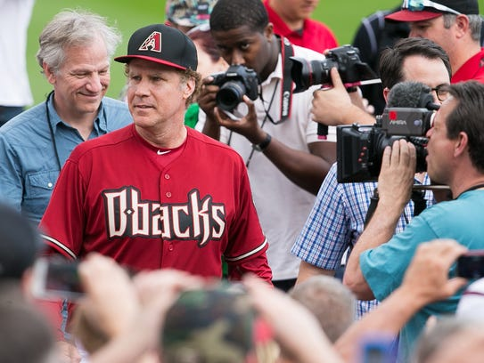 Actor Will Ferrell plays left field for the Arizona