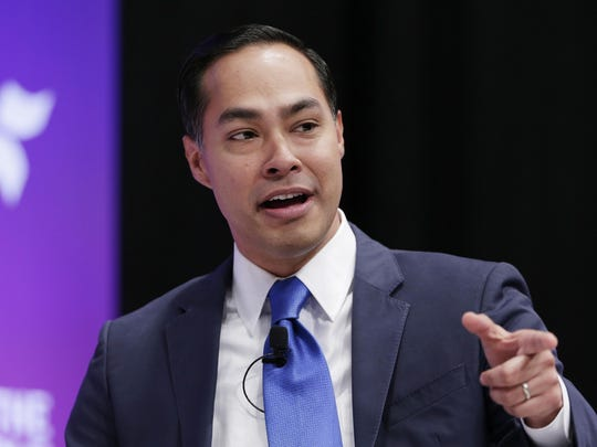 Democratic presidential candidate Julian Castro answers questions during a presidential forum held by She The People on the Texas State University campus Wednesday, April 24, 2019, in Houston. (AP Photo/Michael Wyke)