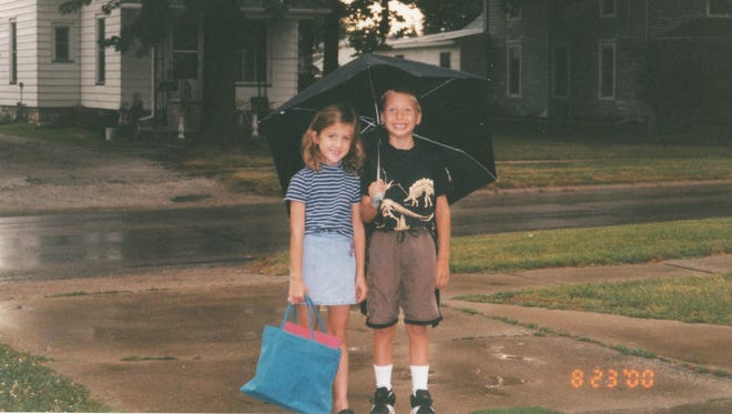 My brother, Sean, and I walk to Van Allen Elementary on the first day of school, Aug. 23, 2000, in Mount Pleasant.