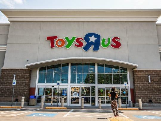 A person walks into a Toys 'R' Us store in Dallas, Texas.