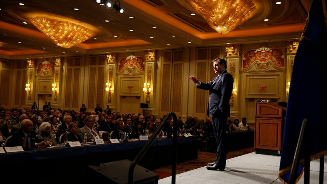 Republican presidential candidate, Sen. Ted Cruz, R-Texas, speaks at the Republican Jewish Coalition spring leadership meeting, Saturday in Las Vegas.
