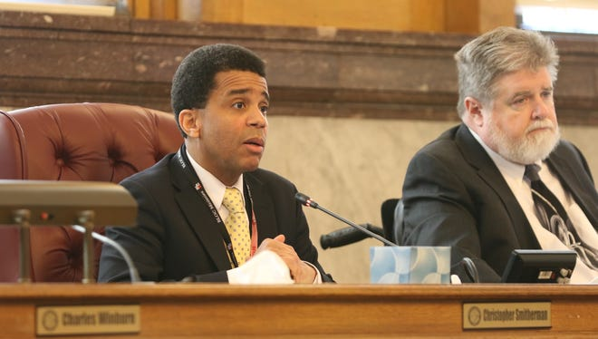 City council members Chris Smitherman and Kevin Flynn speak at a Monday committee meeting after the Cameo nightclub shooting.